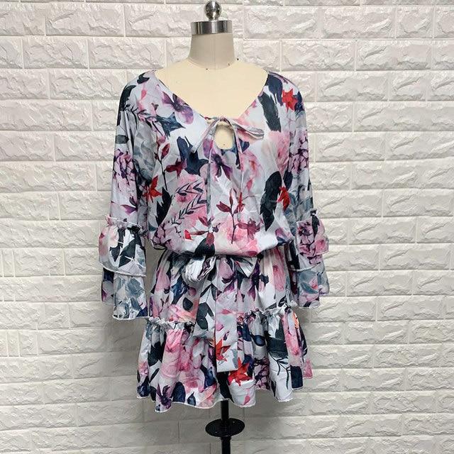New Boho Print Holiday Mini Dress Women Autumn V Neck Lace up Ruffle Flaral Sleeve Woman Dresses 2020Casual Beach Vestidos Mujer 5
