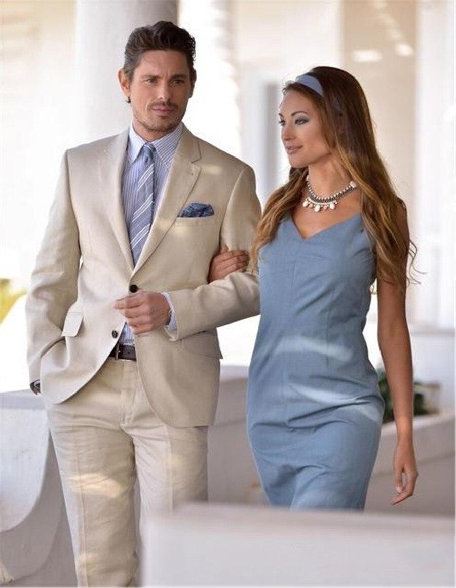 Formal Beige Men Suits Set Stylish Grooms Men Beach Wedding Tuxedo Custom Terno Masculino Men's Prom Party Wear (Jacket+Pant)
