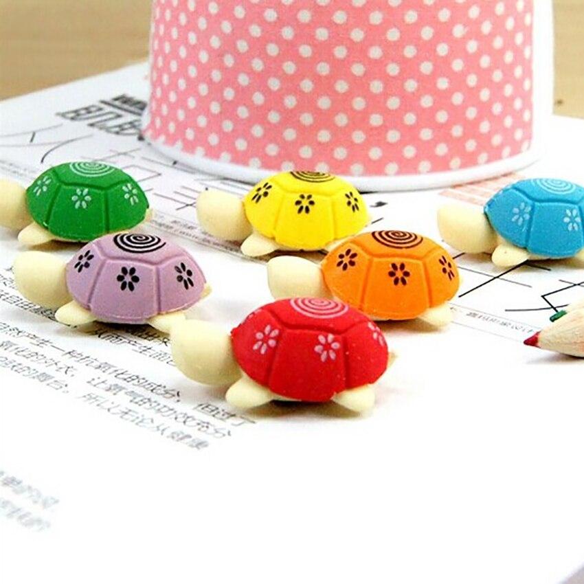 Kawaii Turtle Shape Pencil Eraser Students Colorful Tortoise Eraser Stationery School Office Supplies Children Gifts Prize