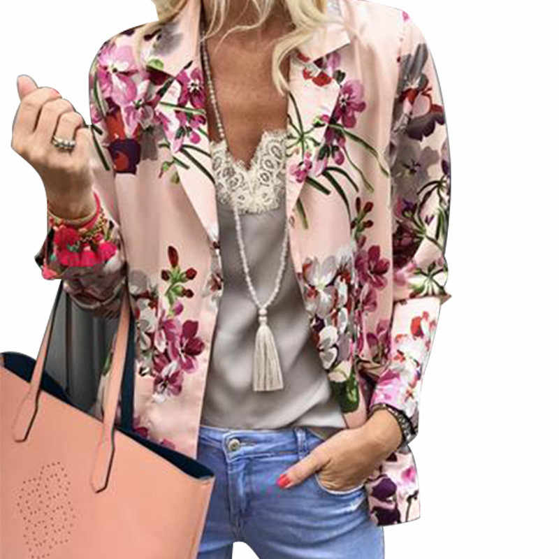 Womens casual Floral Printed Blazers coats female long sleeve Cardigan jackets ladies flower silm Notched Blazers