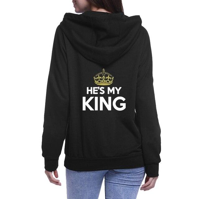 Chritsmas Lovers Couples SHE IS MY QUEEN HE IS MY KING Women Men Lovers Sweatshirt Couple Hoodies 4