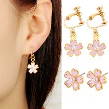 Small Fresh Oil Pink Cherry Imitation Pearl Earrings Korean Version Of The Five-leaf Flower Earrings Ear Clip(China)