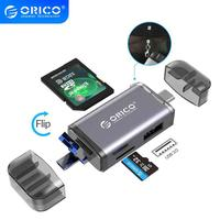 ORICO-lector de tarjetas 6 en 1, USB 3,0, Micro USB 2,0 tipo C a SD, Micro SD, TF, adaptador de memoria inteligente, SD OTG, lector de tarjetas para ordenador portátil