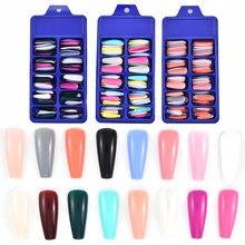 Женские накладные ногти смешанных цветов, акриловое полное покрытие, длинный гроб, съемный искусственный маникюр для ногтей, профессиональ...