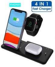 15W Fast Qi Wireless Charger For Iphone XS 8 11 Pro Max Wireless Charging Station For Apple Airpods Watch 5 4 3 2 1 Holder Stand