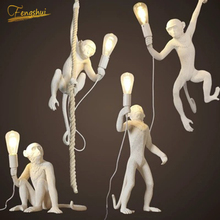 Monkey Lamp Cafe Pendant Lights Art Resin LED Pendant Lamp Bedroom Living Room Corridor Luminaire Lighting Kitchen Hanging Lamps