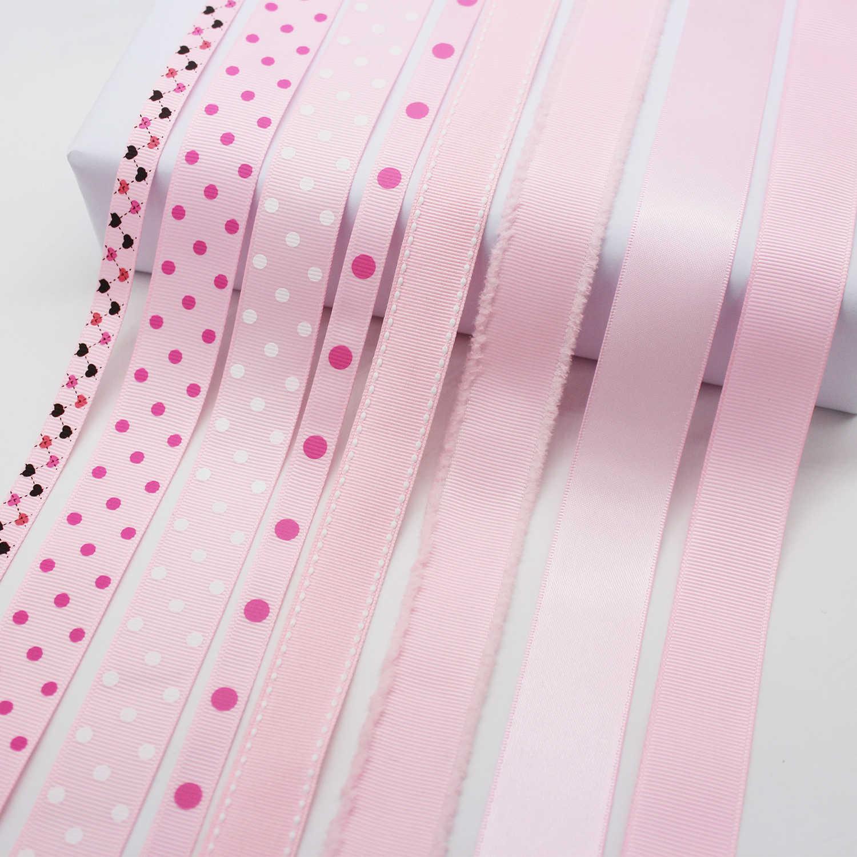 Màu Hồng In Hình Grosgrain Nơ Chấm Bi Băng Sọc Nhung Giáng Sinh Satin Sinh Nhật Đảng DIY Trang Trí Phụ Kiện
