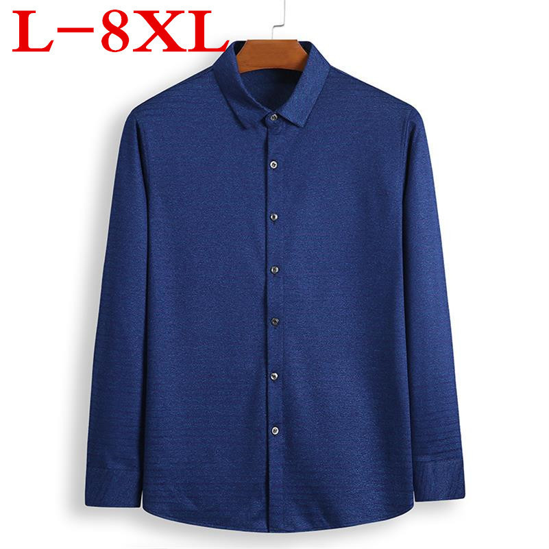 New BIGSIZE 8XL 7XL 6XL5XL Fall Mens Casual Plaid Shirts Long Sleeve Slim Fit Comfort Soft Shirt Leisure Styles Man Clothes