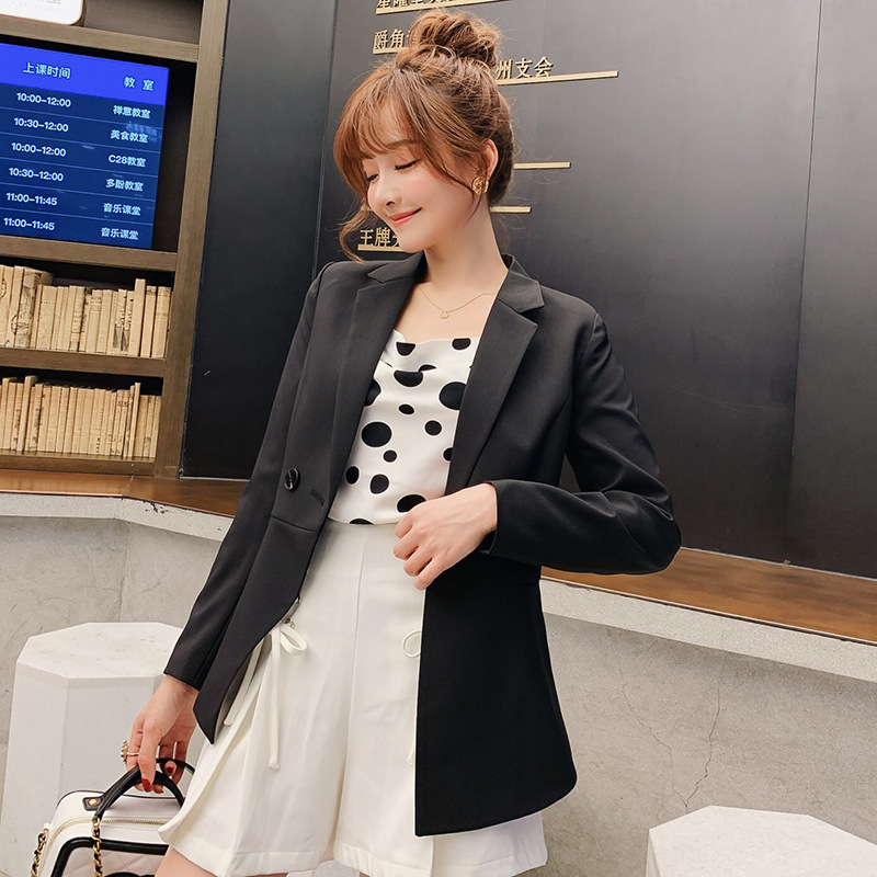 New Women's Spring Autumn Blazers Jackets Fashion Single Button Blaser Female Green/Black/Red/Blue Ladies Blazer