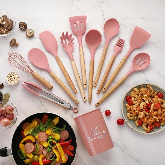 Utensílios de cozinha de silicone conjunto de utensílios de cozinha resistente ao calor cozinha antiaderente utensílios de cozinha ferramentas de cozimento 5