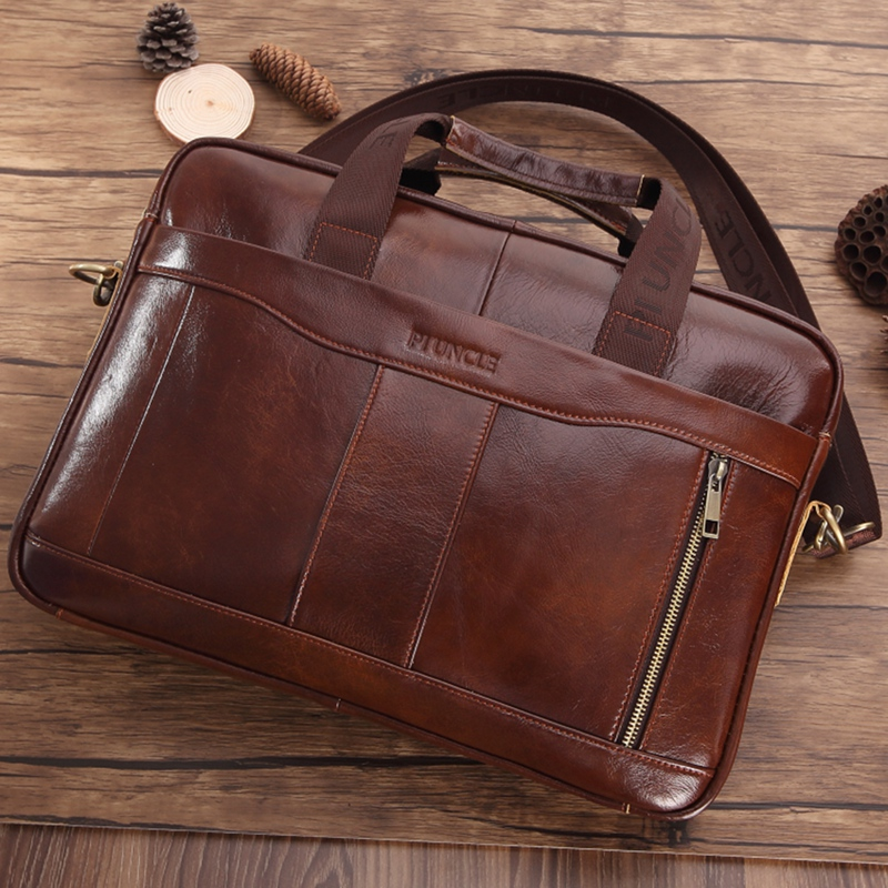 PI UNCLE Men's Leather Briefcase Fashion Handbag Retro Messenger Bag Business Folder Casual Men's Bag