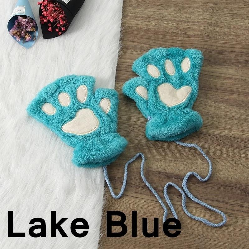 Зимние теплые перчатки женские Красивая кошачья лапа коготь плюшевые варежки короткие перчатки женские зимние перчатки без пальцев - Цвет: 11