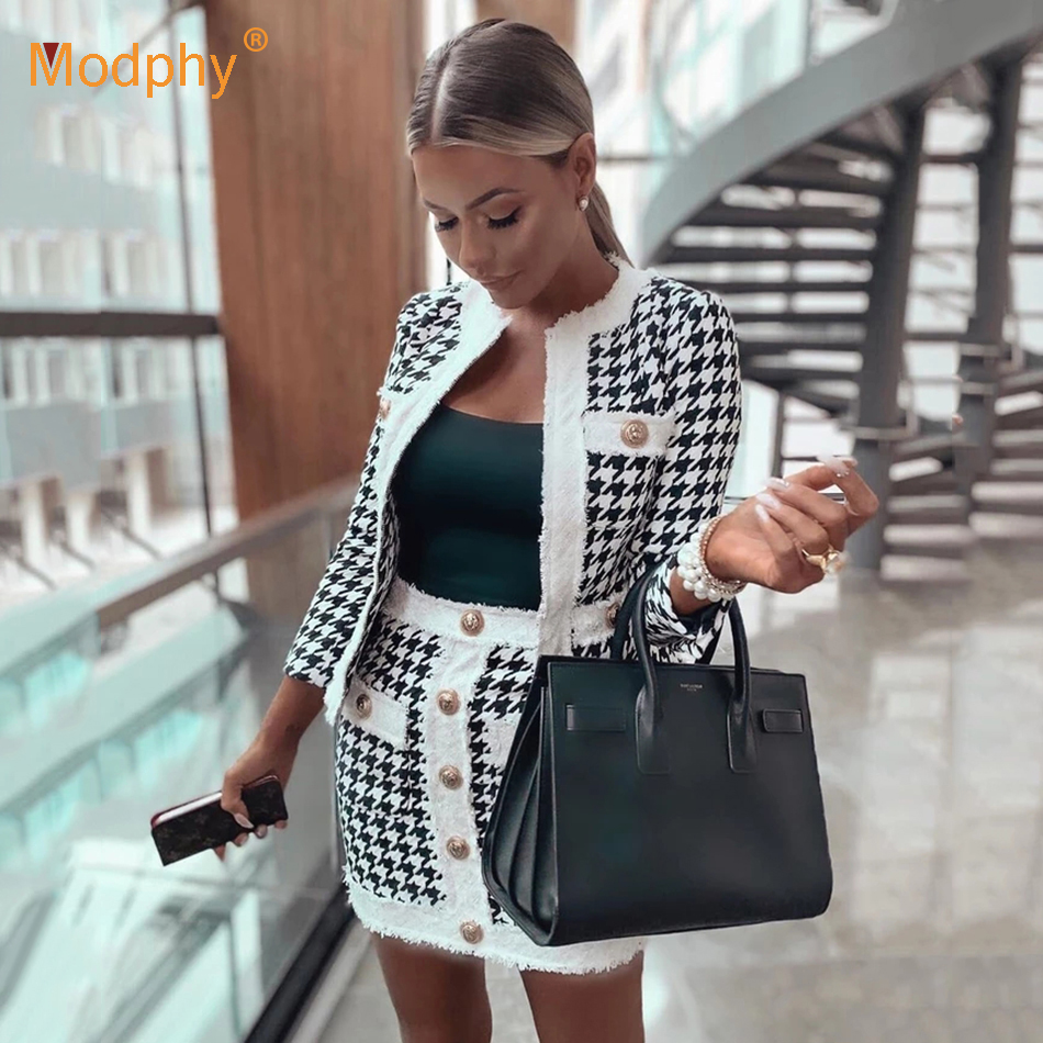 2019 Autumn New Sexy Party Two-Piece Ladies Chic Thousand Bird Plaid Casual Jacket & Skirt Gold Button Mini Ladies Office Set
