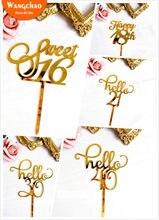 Novo ouro acrílico feliz aniversário bolo topper sweet16 20th 30th 40th idade especial festa de aniversário decoração suprimentos