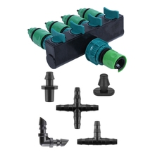 Garden Irrigation 4-Way Tap Hose Splitter with 250-Piece Barbed Connector Irrigation Accessory Kit