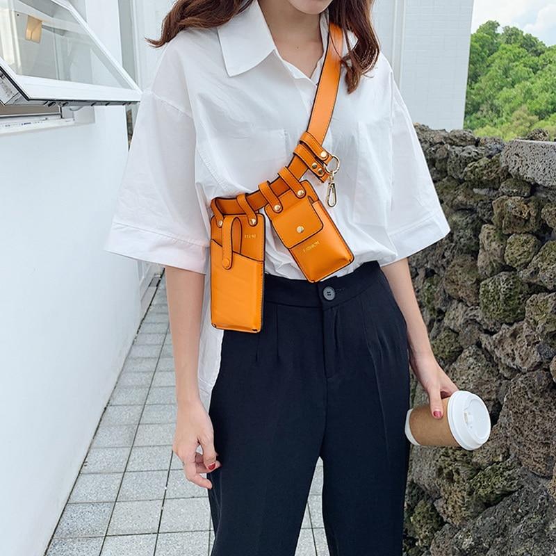 Jodimitty Fashion Multi-pocket Pure Color Ring Leather Waist Bag Casual Messenger Shoulder Bag Chest Bag Multi-function Pockets