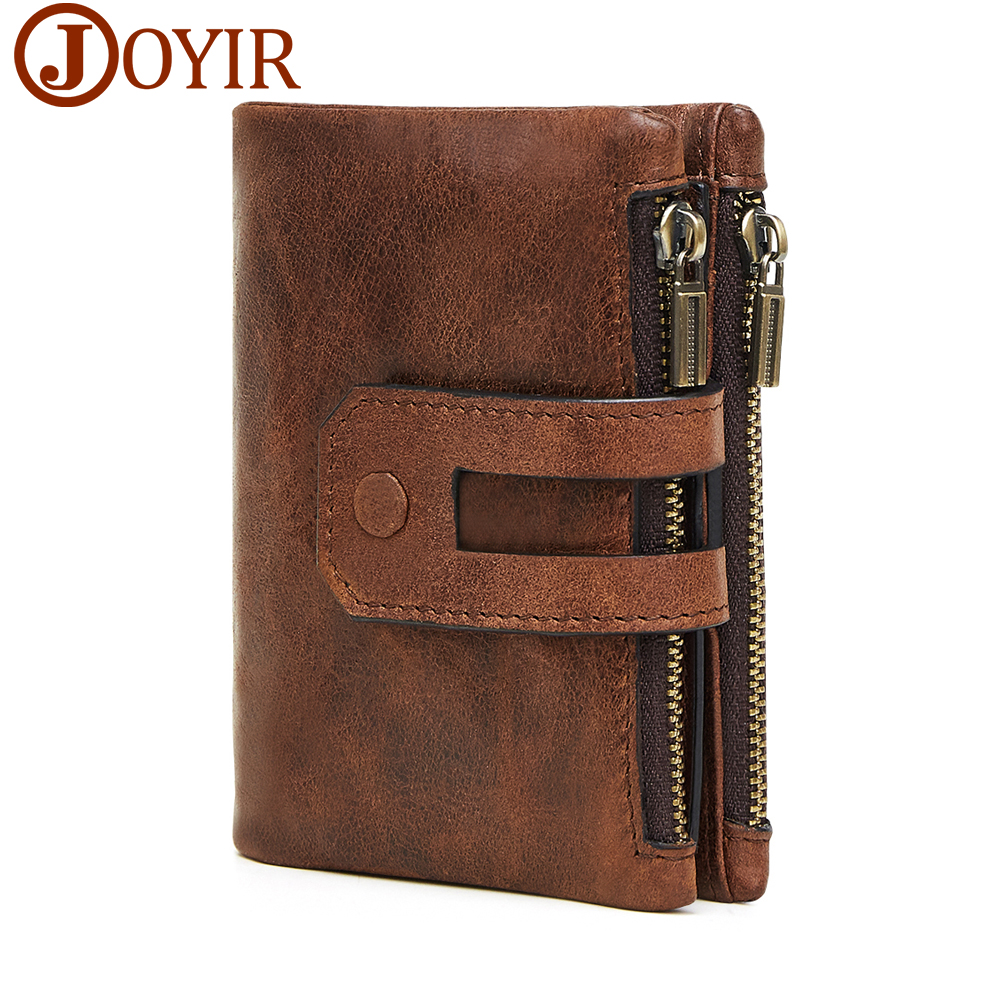 JOYIR Wallet Men Leather Genuine Vintage Coin Purse Zipper&Hasp Men Wallets Small Perse  Solid RFID Card Holder Carteira Hombre