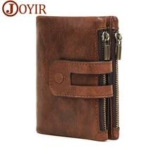 JOYIR Wallet Men Leather Genuine Vintage Coin Purse Zipper Hasp Men Wallets Small Perse Solid RFID