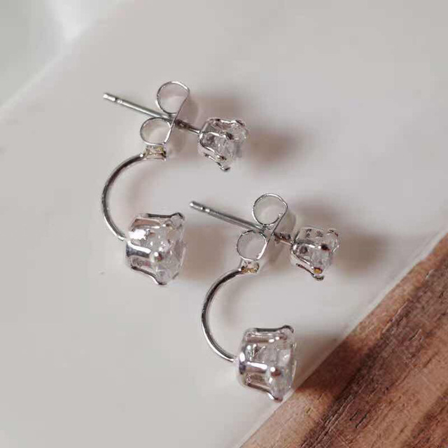 Fashion Zircon Front And Back Stud Earrings For Women 2021 New Jewelry Korean Simple Earings Wholesale 3