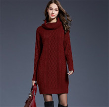 Autumn Winter Fashion  Women Sweaters Dress Solid long Sleeve Turtleneck Sweater Pullover Thicken Knitted Dress Sweaters black
