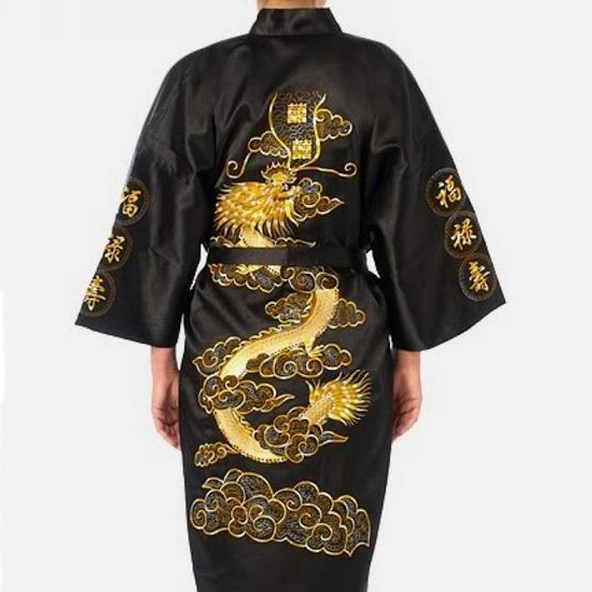 Embroidery Dragon Robe Men Pajamas Traditional Novelty Sleepwear Nightwear Summer New Kimono Bathrobe Gown Intimate Lingerie