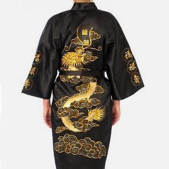 Embroidery Dragon Robe Men Pajamas Traditional Novelty Sleepwear Nightwear Summer New Kimono Bathrobe Gown Intimate Lingerie