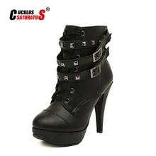 Boots Women Platform Martin Shoes Round-Toe High-Heels Waterproof Plus-Size Solid 35-42