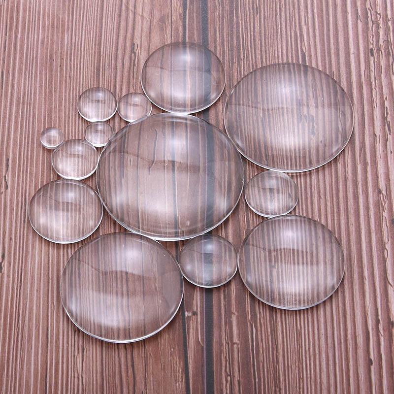 10pcs 16mm 18mm 20mm 25mm 30mm 35mm 40mm 45mm 50mm Round Flat Back Clear Glass Cabochons Dome For Jewelry Making DIY Findings
