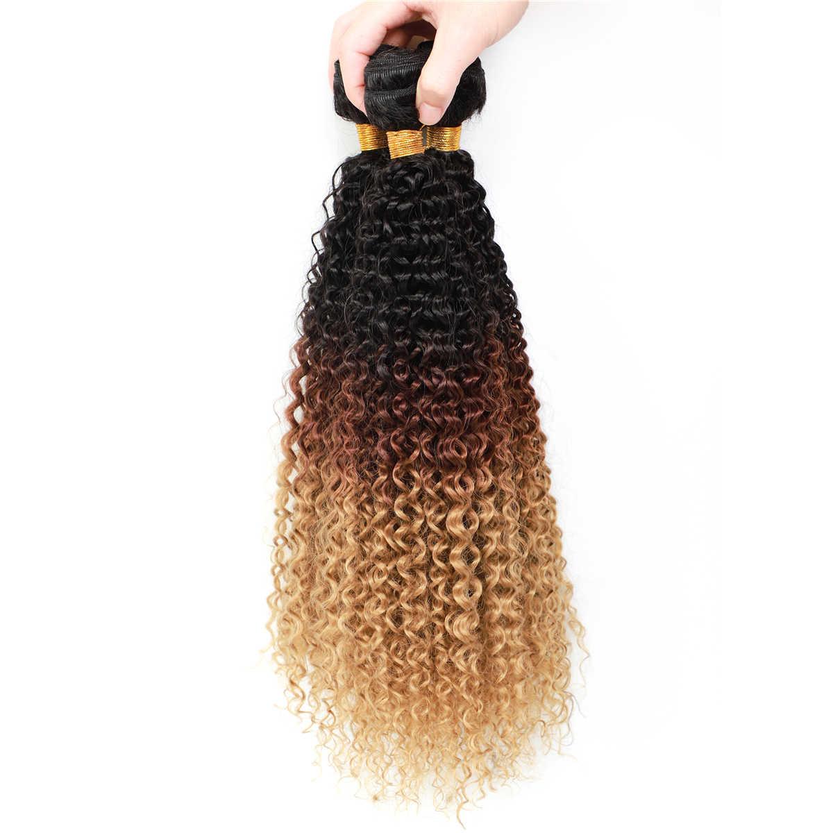 YunRong Ombre blond syntetyczne perwersyjne kręcone włosy rozszerzenia 100 g/sztuka czarne korzenie T1B/4/27 Afro kręcone wiązki żaroodporne