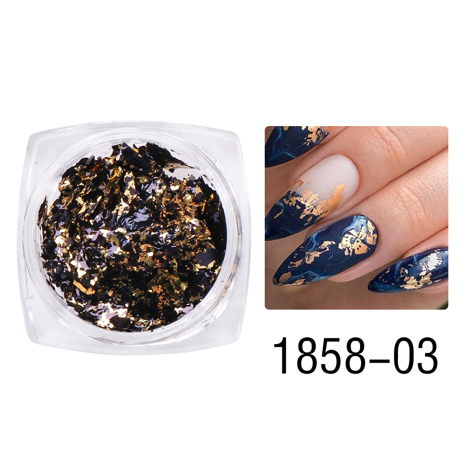 1 Box Gold Glitter Flakes Irregular Aluminum Foil Sequins For Nails Chrome Powder Winter Manicure Nail Art Decorations LY1858-1 33