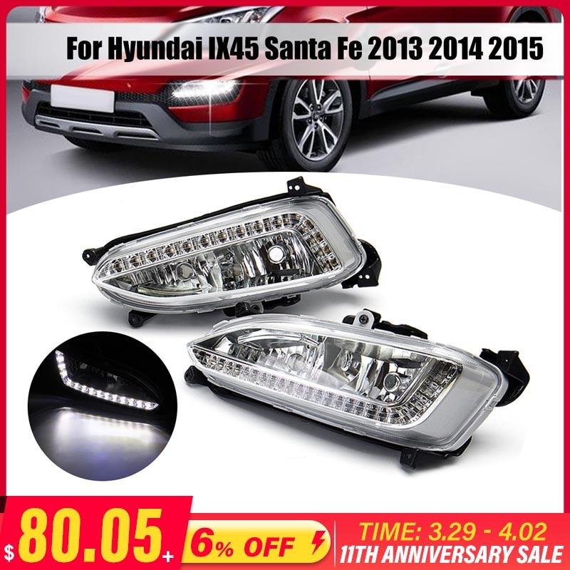 Светодиодные дневные ходовые огни для Hyundai Santa Fe IX45 2013-2015 12 В, водонепроницаемые противотуманные фары DRL, автомобильная фасветильник в сборе