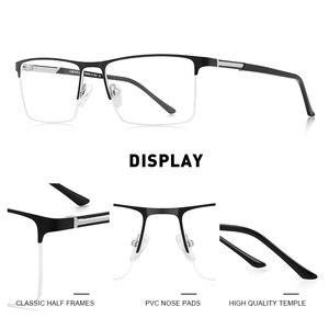Image 2 - MERRYS conception de lunettes pour hommes, monture de lunettes en alliage carré demi optique ultraléger, Style Business, pour myopie, Prescription, S2051