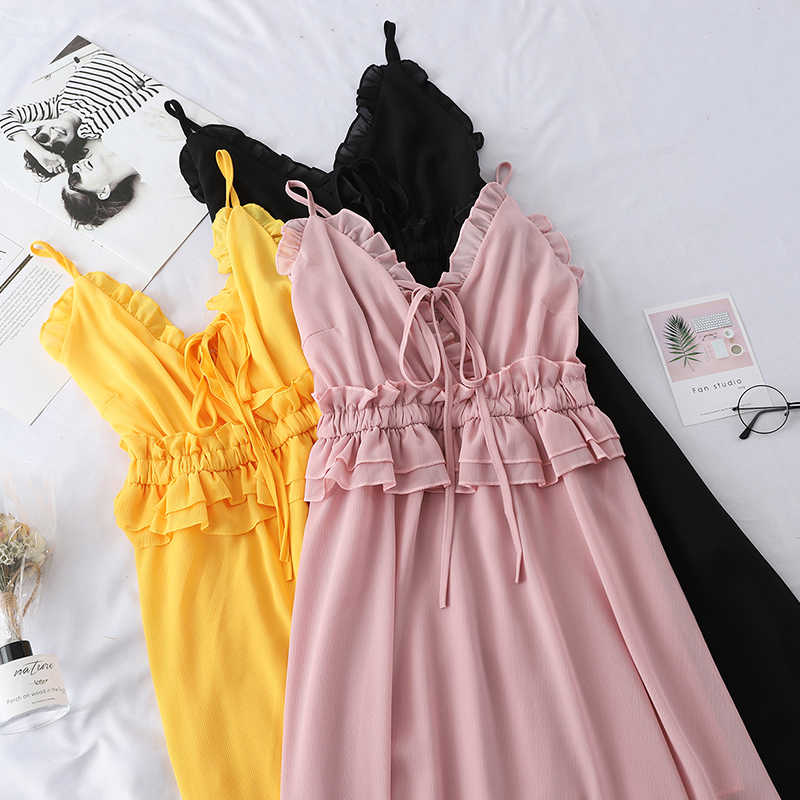2020 Summer Sweet Sleeveless V-Neck Ruffles Dresses Women Elegant Chiffon Spaghetti Strap Party Dress Slim High Waist vestidos