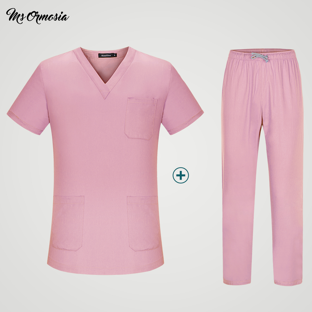Women's Short Sleeve V Neck Surgical Or Medical Scrub Clothes Sets Uniforms New Design Scrub Uniform Set Tops And Pants Outfit