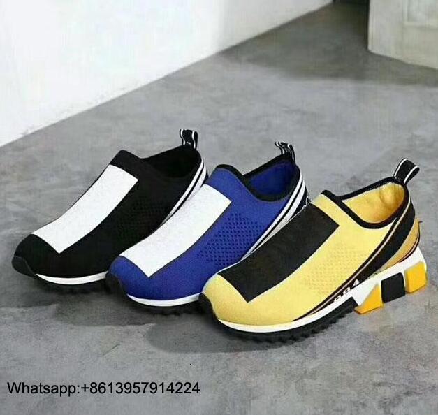 Top qualité plus récent concepteur femmes baskets hommes chaussette chaussures décontractées jaune femmes chaussures bleu hommes chaussures 35 46 avec boîte - 2