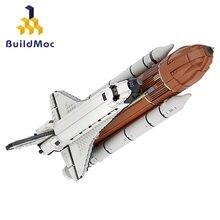 MOC espacio de transporte al centro de lanzamiento (1:1:1:1: Escala de 110) modelo bloques de construcción nave espacial figura cohete bloques construcción Juguetes