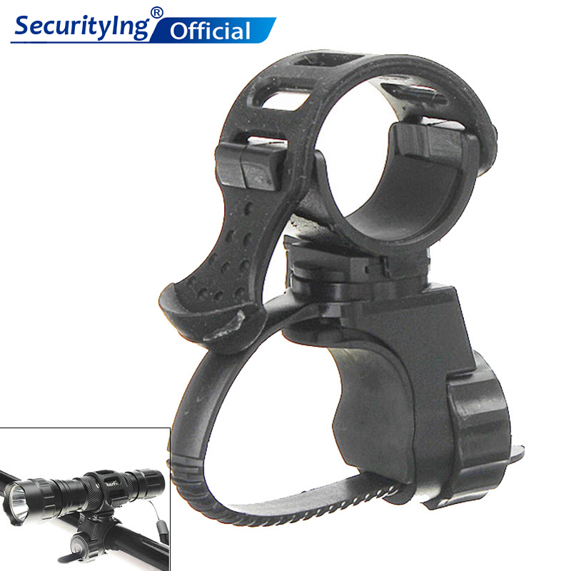 SecurityIng 360 Swivel Bicycle Cycle Bike Front Torch Mount LED Headlight Holder Clip Rubber For 20-45mm Diameter Flashlight