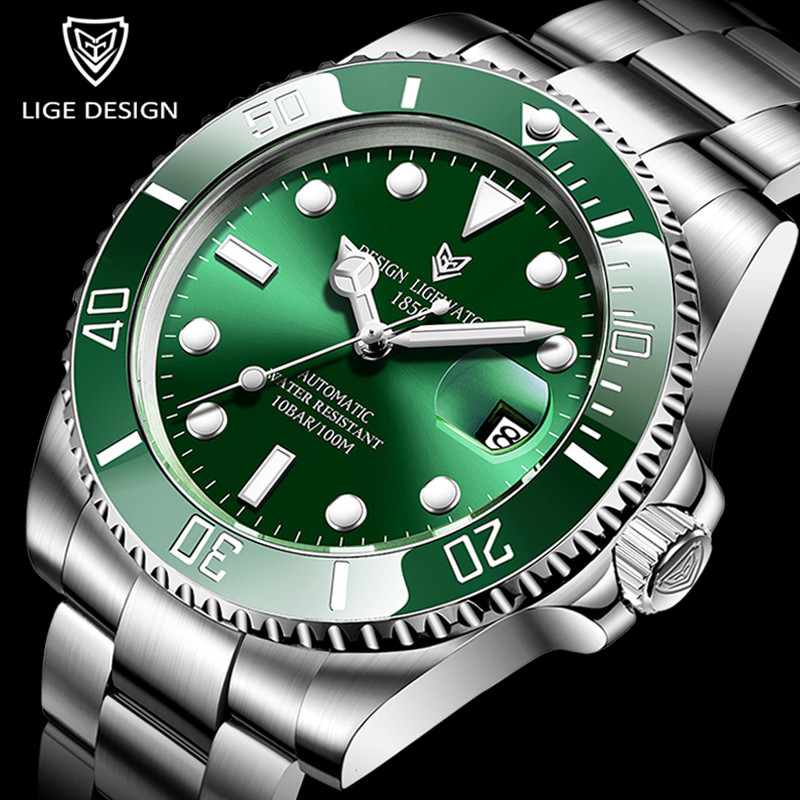 2021 LIGE nowy zegarek mężczyźni automatyczny mechaniczny Tourbillon zegar moda Sport zegarek do nurkowania 100ATM wodoodporne zegarki podświetlane męskie