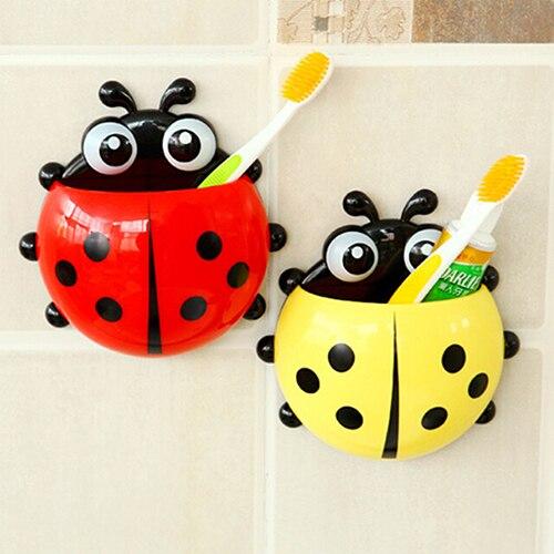 Hot Lovely Ladybug Toothbrush Holder Suction Ladybird Toothpaste Wall Sucker Bathroom Set Household Bathroom Supplie Cup Holder 2