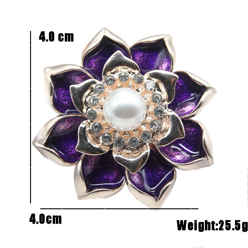 RHao Classic pearl Flower Brooches for Women Elegant purple Flower pins Girls Dress jewelry accessories men suit corsage gifts