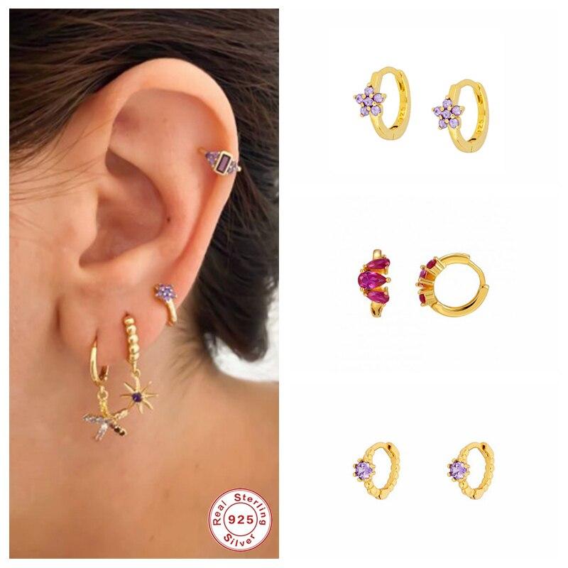 925 srebrny kolczyk kolczyki w kształcie obręczy dla kobiety zaręczyny CZ koreański romantyczny fioletowy błyszczący kryształ Pendientes Oorbellen