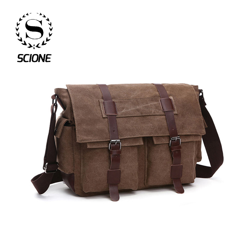 Scione Practical Business Messenger Bags For Men Shoulder Bag Canvas Crossbody Shoulder Pack Retro Casual Office Travel Bag
