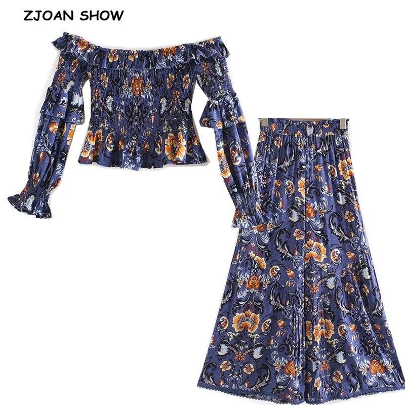 Женский комплект из 2 предметов, эластичная рубашка в богемном стиле с рюшами, вырезом лодочкой, цветочным принтом и длинными рукавами, широ...