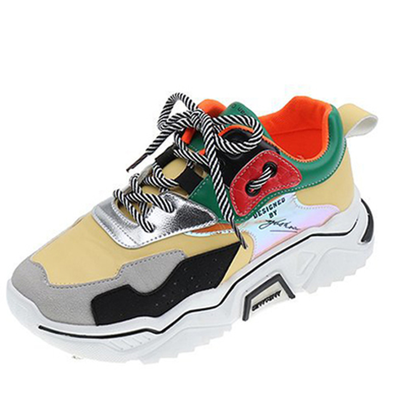 Women Shoes 2020 New Chunky Sneakers Women Vulcanize Shoes Casual Fashion Leather Shoes Woman Platform Sneakers Sport Female