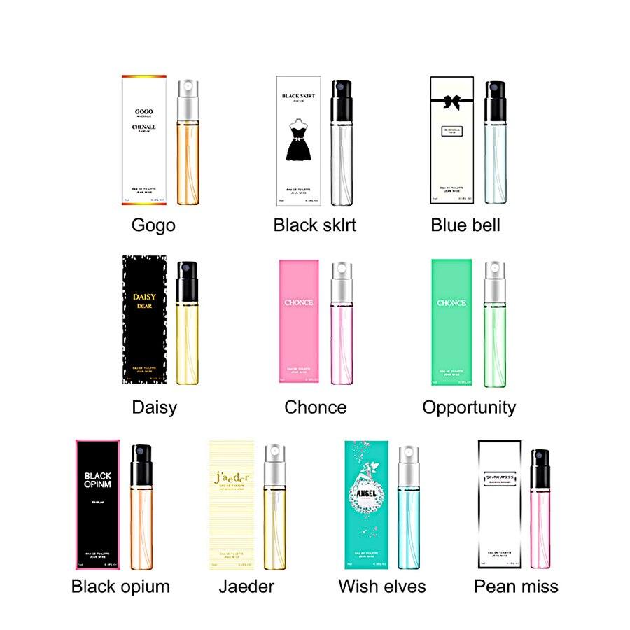 New 10PCS 3ML Perfume For Women And Men Atomizer Bottle Glass Fashion Female Long Lasting Parfum Flower Fragrance Antiperspirant