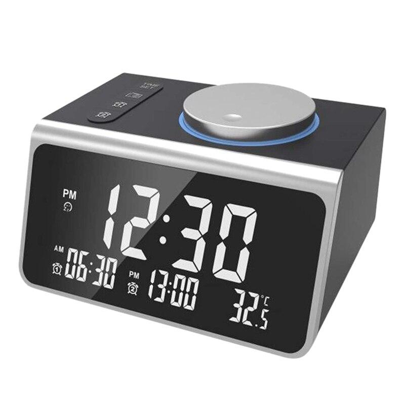 Alarm Clock Radio Bluetooth 5.0 Speaker Dual Alarms with Alarm Digital Display with Dimmer Dual USB Ports Clock