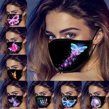 Máscaras de rosto lavável brilho borboleta reutilizável dustproof máscara de boca respirável máscara protetora máscara facial máscara de borboleta