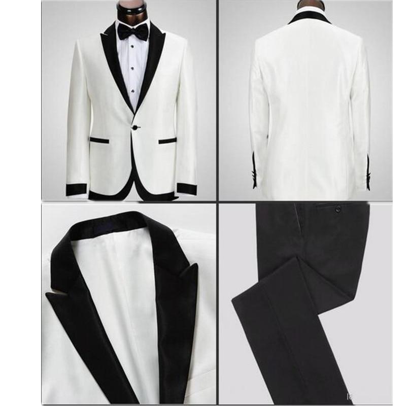 White Jacket Black Pants One Button Groom Tuxedos Best Man Peak Lapel Groomsman Wedding Suits Bridegroom (Jacket+Pants)