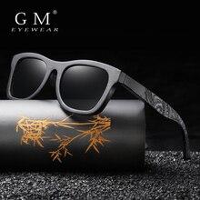 Gafas de sol GM de madera para hombre, gafas de sol polarizadas de marca de lujo para hombre, gafas de sol Vintage para mujer, gafas con caja redonda