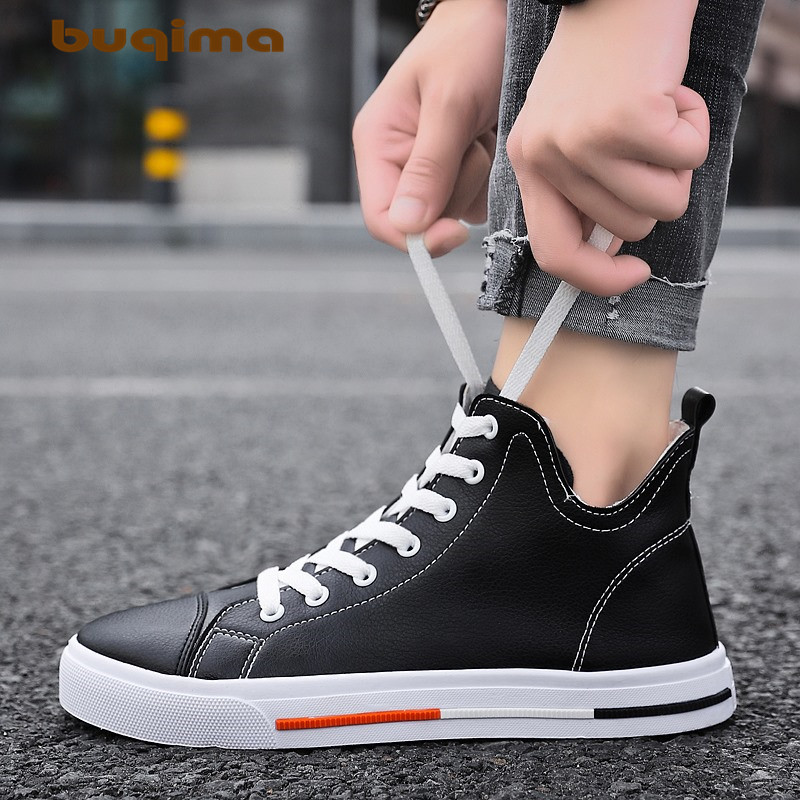 Buqima mens classic autumn new Zhongbang board shoes sports student comfortable fabric tie outdoor trend leisure 39